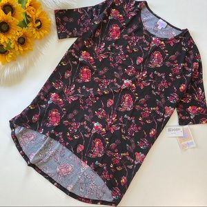 NWT Lularoe Irma Black Red High Low Floral Blouse